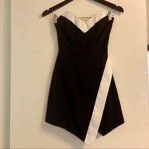 Bebe Strapless Black and White Dress